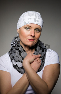 beautiful woman cancer patient wearing headscarf