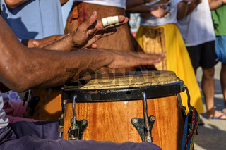 Drum player hands and instrument