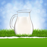 Jug With Milk And Grass