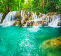Tat Sae Waterfalls. Beautiful landscape, Laos