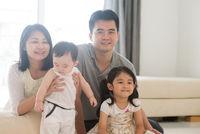 Portait of happy Asian family
