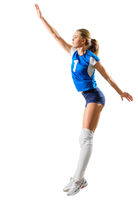 Woman volleyball player isolated (ver without ball)