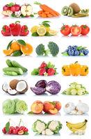 Obst und Gemüse Früchte Sammlung Apfel Tomaten Orange Salat Bananen frische Freisteller freigestellt isoliert