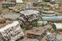 Stone fragments on Gortyna archeological site, Crete, Greece