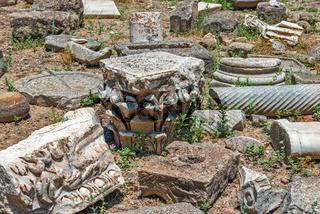 Stone fragments on Gortyna archeological site, Crete, Greece