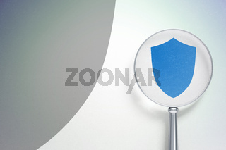 Safety concept:  Shield with optical glass on digital background