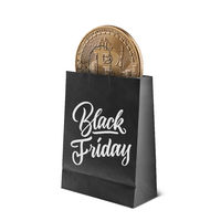 Gold coin bitcoin in the package. Sale and black Friday concept