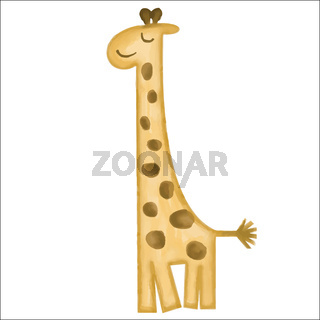 doodle, watercolor hand drawn giraffe isolated on white background