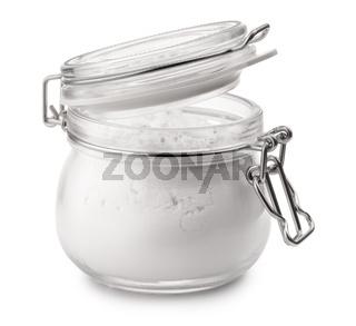 Glass jar of corn starch