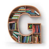 Letter G. Alphabet in the form of shelves with books isolated on white.
