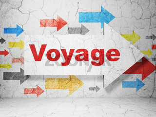 Travel concept: arrow with Voyage on grunge wall background