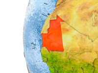 Map of Mauritania on model of globe