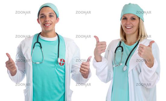 Arzt Doktor Ärzte Team Beruf Ärztin Krankenschwester Daumen hoch Freisteller