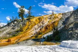 Yellowstone Norris Geyser Basin Museum limestone formations panorama