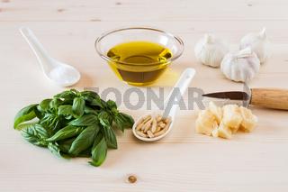Ingredients for pesto genovese sauce