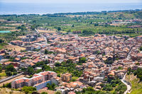 above view of Calatabiano town in Sicily