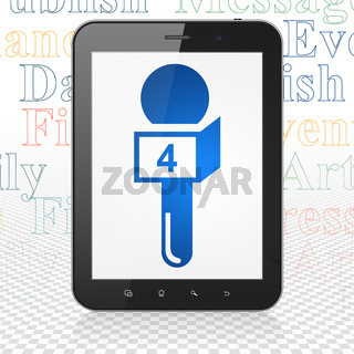 News concept: Tablet Computer with Microphone on display