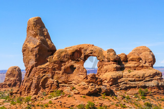 arches National Park in summer The Window with blue sky