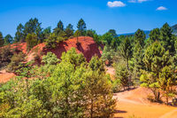 Picturesque orange-red hills of ochre