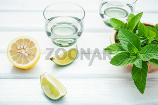 Ingredients for making mojitos mint leaves, lime,lemon and vodka on white wooden background.
