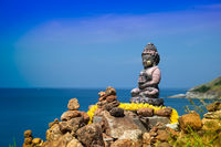 Buddha statue and sea view