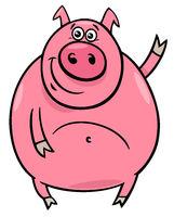 pig or porker character cartoon illustration