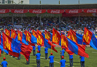 Aufmarsch der Fahnenträger mir der mongolischen Nationalflagge, Nationalstadion, Ulanbator, Mongolei