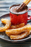 Churros with hot chocolate.