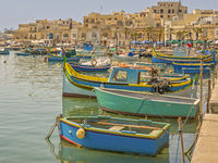 Fishing Boats In The Harbour,Marsaxlokk Village, Malta