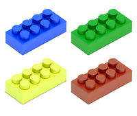 four colored child blocks 3d model