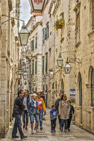 Tourists Exploring The Side Streets Of Dubrovnik Croatia
