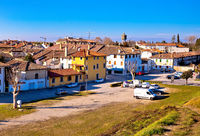 Town of Palmanova skyline panoramic view from city defense walls