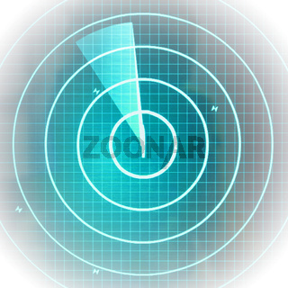 Blue radar screen with dots