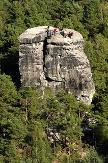 Kletterer am Nonnenfelsen, Sächsische Schweiz