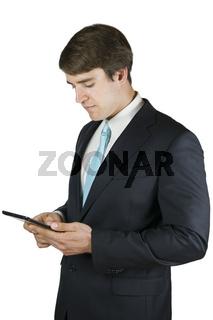 Man mit Tablet auf Weiß
