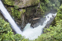 Waterfall Pailon del Diablo (Devil's Cauldron) in the Andes mountain rainforest. Banos. Ecuador