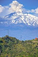 Steam Rising From Mount Etna Taormina, Italy
