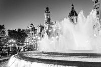 Fountain on Modernism Plaza of the City Hall of Valencia, Town hall Square, Spain.