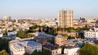 apartment houses in Kiev city in spring dawning