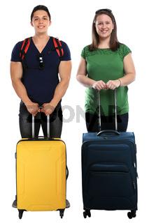 Urlaub junge Leute Menschen mit Koffer Gepäck Reise reisen Freisteller isoliert freigestellt
