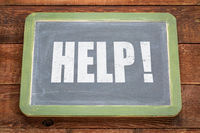 Help exclamation on blackboard