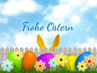 a easter graphic with happy easter in german language
