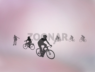 Bicyclists and rollerskater silhouettes