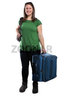 Junge Frau mit Koffer Reise reisen verreisen Urlaub jung lachen Freisteller