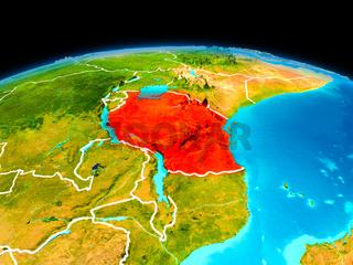 Tanzania in red