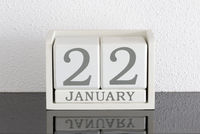 White block calendar present date 22 and month January
