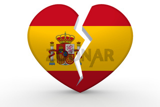 Broken white heart shape with Spain flag