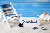 Summer Label With Deck Chair, Danke Menas Thank You