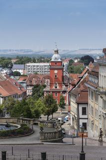 Blick vom Schloß Friedenstein auf Wasserspiele, Hauptmarkt und Rathaus