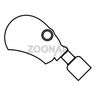 Gasmask or inhaler icon black color illustration flat style simple image